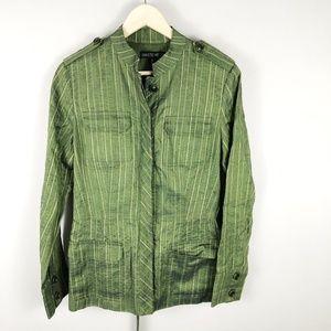 Lafayette 148 Linen Mandarin Button-Down Jacket